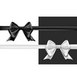 Black silver bow on white background greeting card