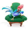 Blue Rooster symbol 2017 Rooster in chair singing vector image vector image