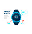 blue smart watch with app icon flat vector image vector image