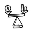 business balance hand drawn icon design outline vector image