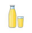 cartoon glass bottle of lemon fruit juice vector image vector image