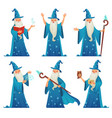 cartoon wizard character old witch man in wizards vector image vector image