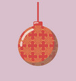 christmas ball with geometric snowflake pattern vector image