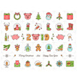 christmas icons set pig icons chinese zodiac 2019 vector image vector image