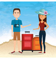 couple characters on the beach vector image vector image