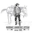 cowboy with mare vector image vector image