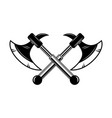 crossed medieval axe design element for label vector image vector image