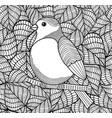 doodle bird on black and white background with vector image vector image