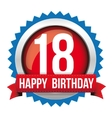 Eighteen years happy birthday badge ribbon vector image vector image