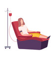 female donor giving blood in medical hospital vector image