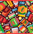 food pattern canned grocery products pictures vector image