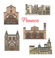 french travel landmarks thin line vector image vector image