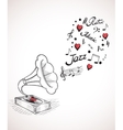 Gramophone with a bubble of music elements vector image