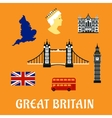 Great Britain travel flat icons vector image vector image