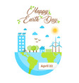 happy earth day card of green eco friendly city vector image vector image