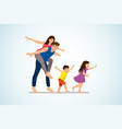 happy family fun and fooling around cartoon vector image