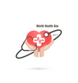 human hand and stethoscope icon with heart shape vector image