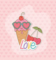 ice cream and cherries stickers kawaii style vector image