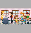 kids eating lunch at the canteen vector image vector image