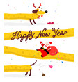lovely santa claus on a yellow dog chinese new vector image vector image