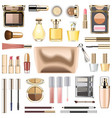 makeup cosmetics with golden cosmetic bag vector image vector image