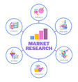 market research infographics icons flat vector image vector image