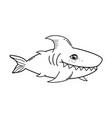 outline cute shark tropical fish with teeth vector image