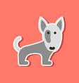 paper sticker on stylish background pet dog vector image vector image