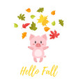 pig tossing autumn colorful leaves vector image vector image