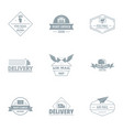 quick delivery logo set simple style vector image vector image