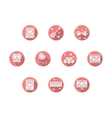 Round pink romance icons vector image