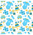 seamless pattern with baby things birth of a boy vector image vector image