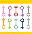 set locks various shapes and colors vector image vector image