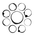 set of abstract black ink stain circles vector image