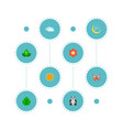 set of green icons flat style symbols with sun vector image