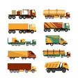 set of trucks icons isolated on white vector image vector image