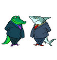 shark and crocodile two businessmen communicate vector image vector image