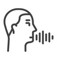 speech recognition line icon voice control vector image