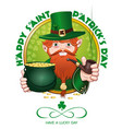 st patricks day design with leprechaun vector image