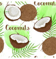 tropical seamless pattern with coconuts vector image