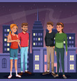 two couple young people - city at night in the vector image vector image