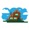 two-storey country house vector image