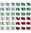 Uzbekistan Macau Ingushetia UPA Set of 36 flags of vector image vector image