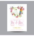 Wedding Card Tropical Flowers and Parrot Bird vector image vector image