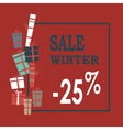 Winter sale background with blue lettersgifts and vector image
