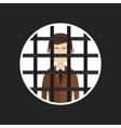 cartoon businessman in prison vector image