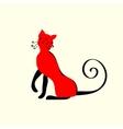Elegant red cat ornament vector image