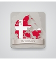 Icon of Denmark map with flag vector image
