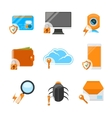 Network security flat icon set vector image