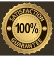 100 percent satisfaction guarantee golden sign vector image